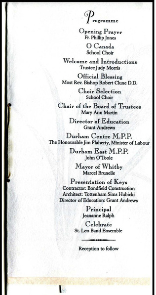 Page from the Grand Opening programme for the new school building