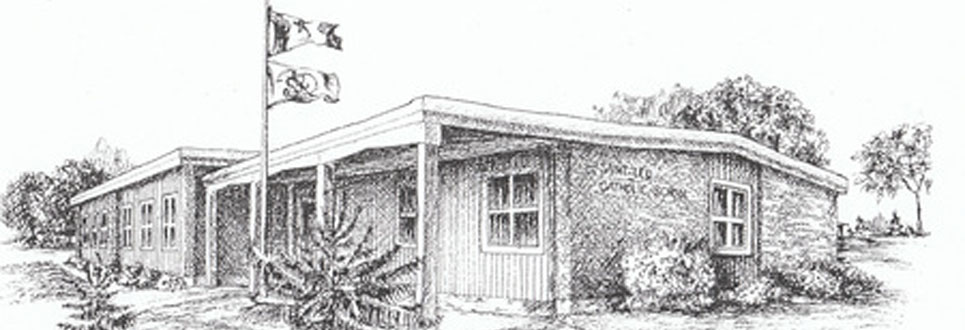 Pencil drawings of the first building for St. Leo Catholic School